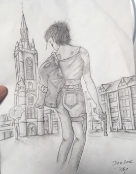 Le personnage de Marie vu par le gagnant d'un concours de dessins autour de mes personnages